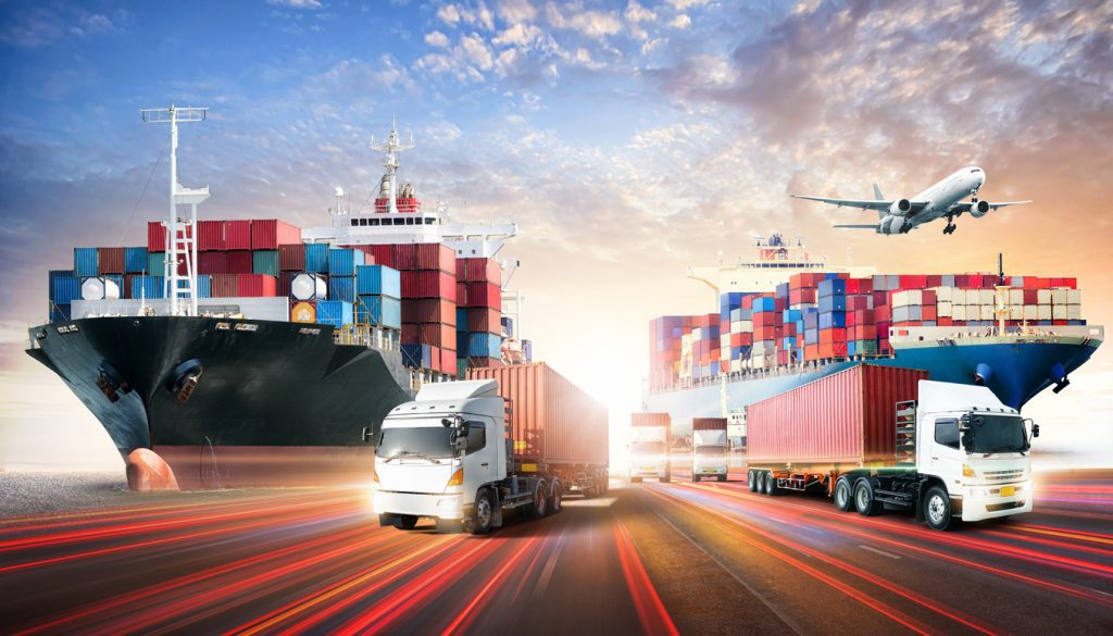 Business logistics and transportation concept of containers cargo freight ship and cargo plane in shipyard at sunset sky, logistic import export and transport industry background